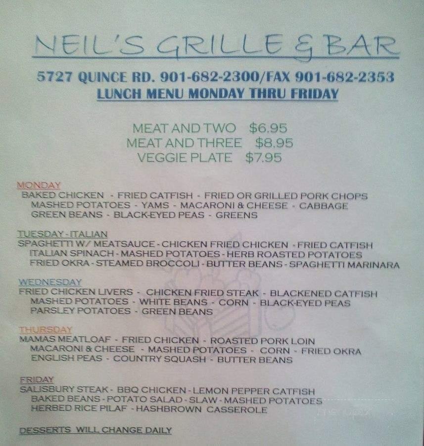 Menu of Neil's Bar in Memphis, TN 38119