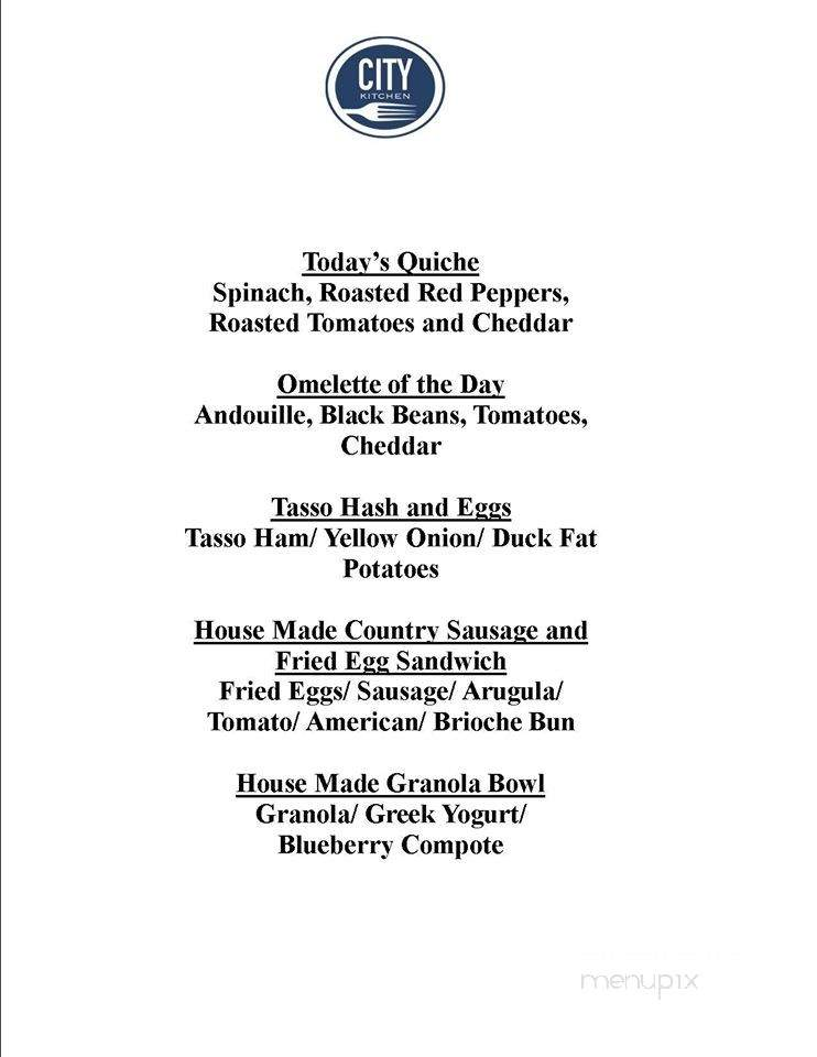 Online Menu of City Kitchen, Beaufort, NC
