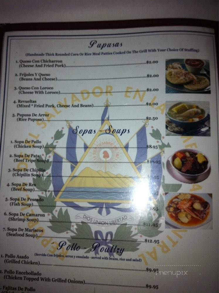 Menu For Restaurante El Salvador Concord Ca
