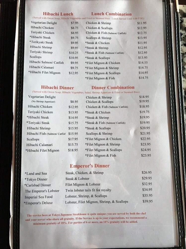 Menu Of Tokyo Hibachi & Sushi In Carlsbad, NM 88220