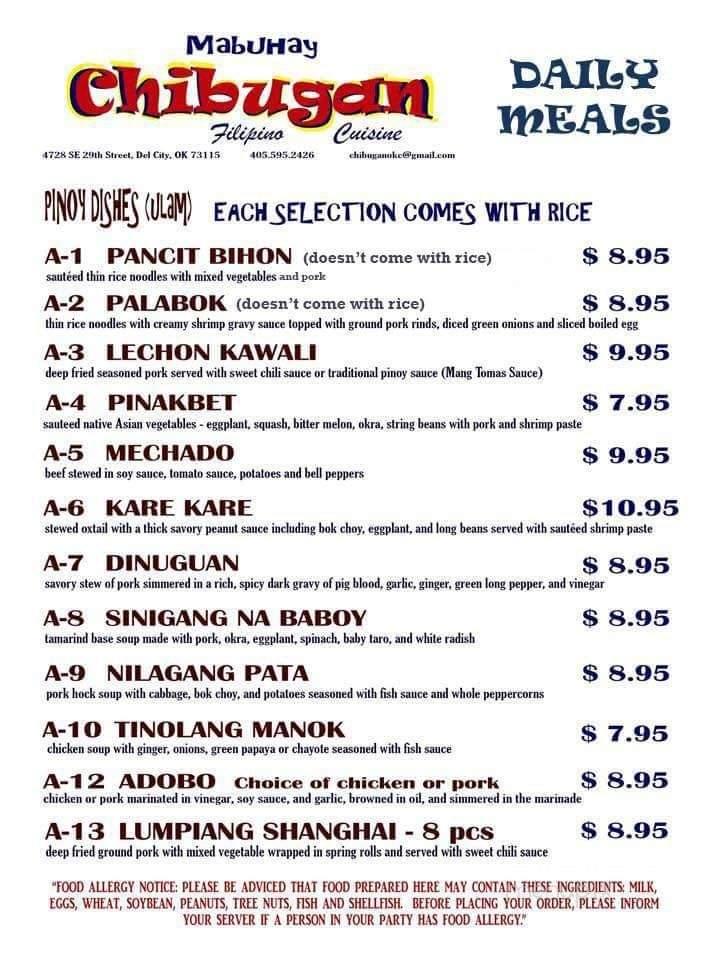 Menu Of Chibugan Filipino Cuisine In Del City Ok 73115