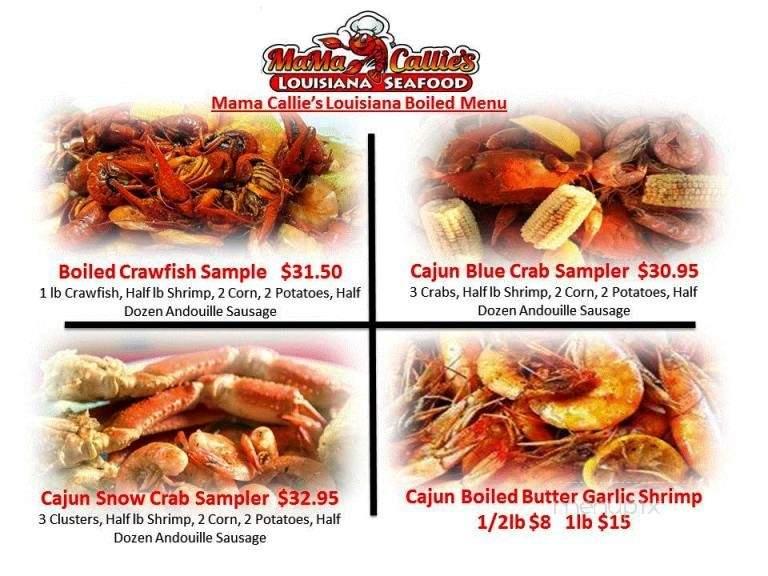 Online Menu Of Mama Callie S Louisiana Seafood New Bern Nc