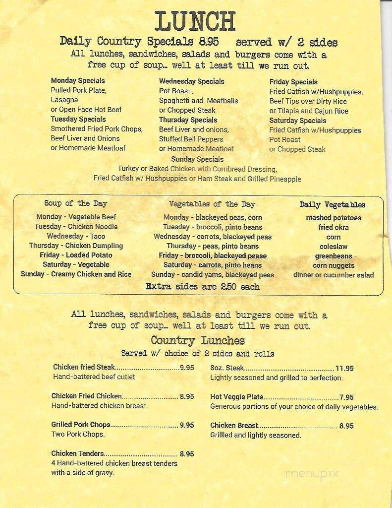 Country Kitchen Red Oak Texas Menu