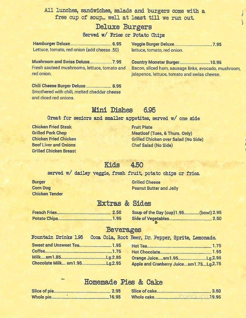 Menu For Country Kitchen Red Oak Tx