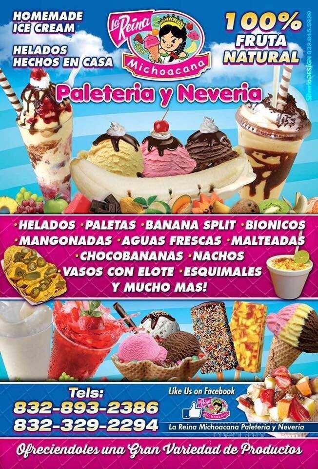 Menu For La Reina Michoacana Pasadena Tx