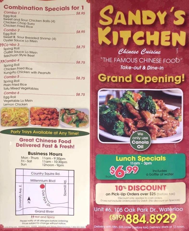 Menu Of Sandy S Kitchen Chinese Cuisine In Waterloo On N2k 0b3