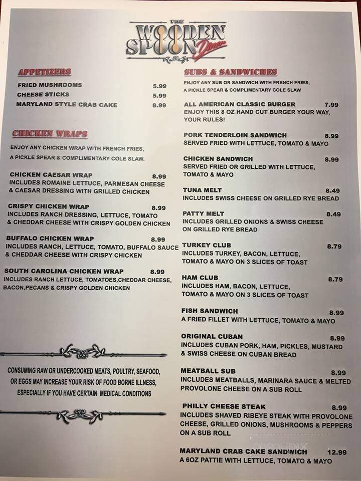 Menu Of The Wooden Spoon Diner In Brandon Fl 33511
