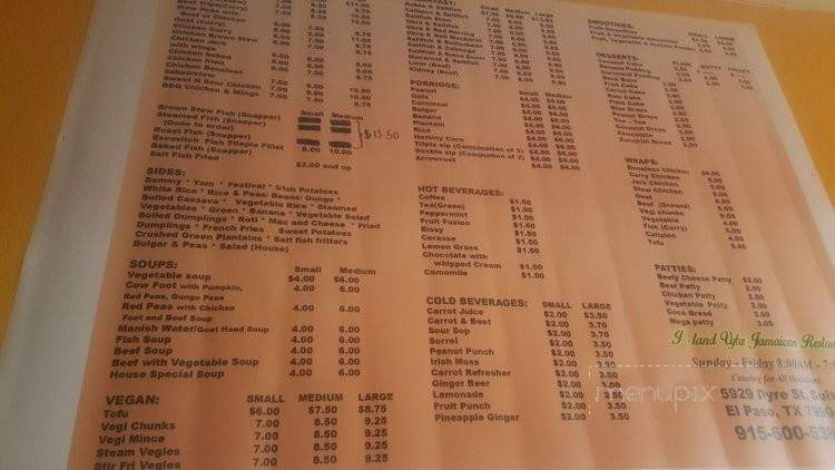 menu of iland vybz jamaican restaurant in el paso tx 79904
