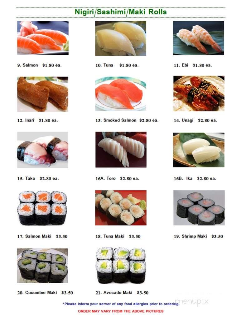 Menu Of Edo Yaki Sushi Japanese In High River, AB T1V 2B1