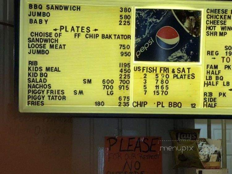 Menu of Oinky's Barbecue in Paragould, AR 72450
