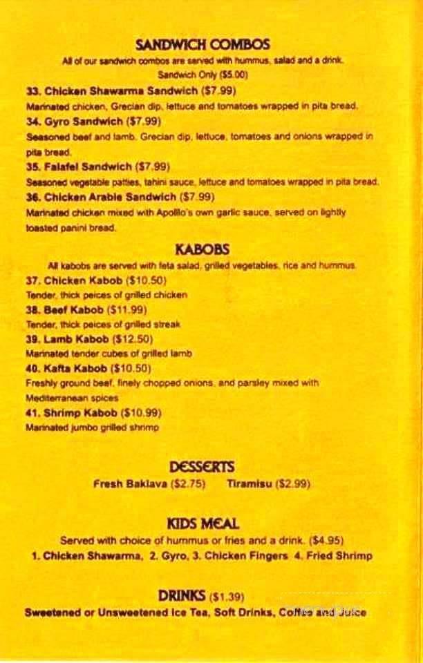 Menu of Apollo Greek and Lebanese Cafe in Alexandria, LA 71301  Apollo