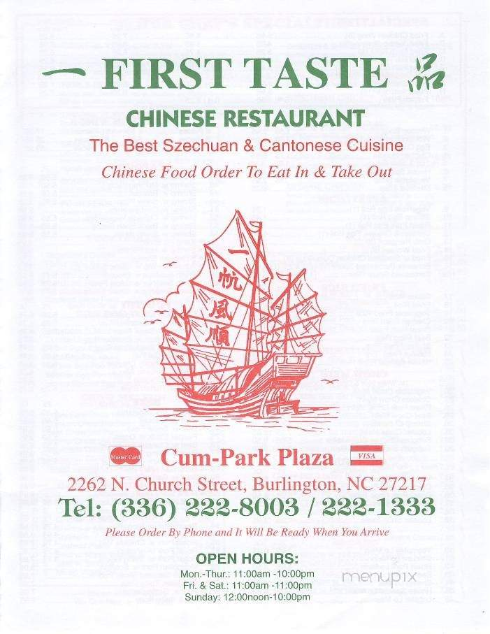 online menu of first taste chinese restaurant burlington nc online menu of first taste chinese