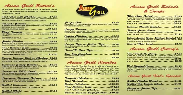 grill menu pa Asian robinson
