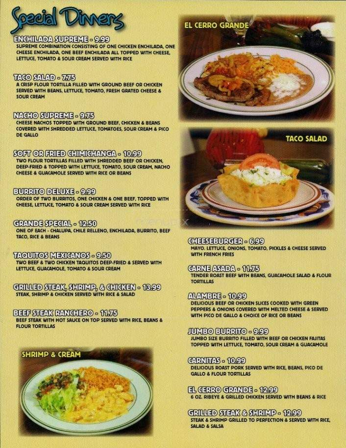 El Cerro Grande North Myrtle Beach Sc Menu