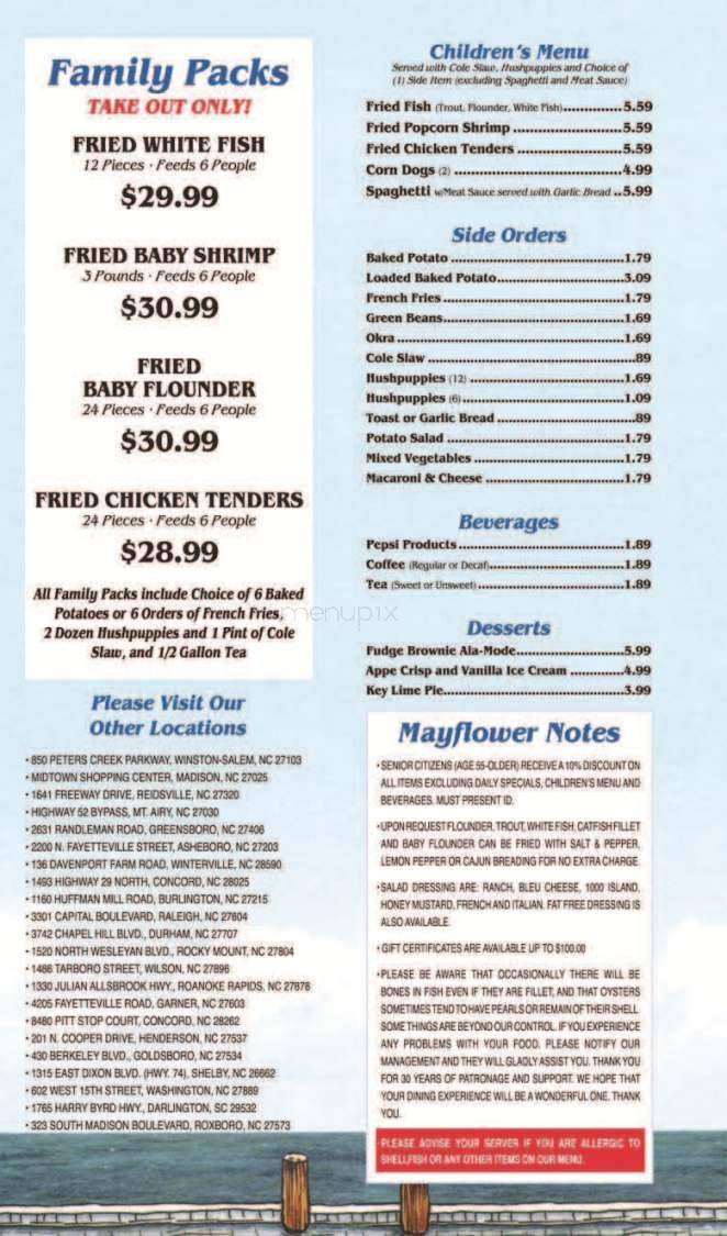 Menu Of Mayflower Seafood Restaurant In Smithfield Nc 27577