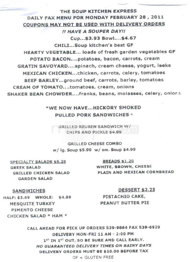 Menu Of Soup Kitchen Express In Knoxville Tn 37922