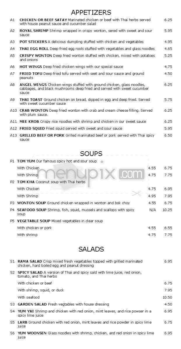 Restaurant menu menupix for Angel thai cuisine glendale