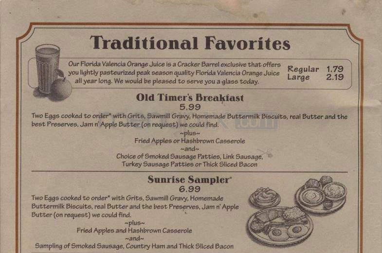 cracker barrel menu jacksonville nc
