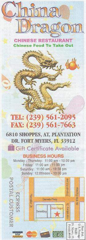 menu of china dragon of fort myers in fort myers fl 33912