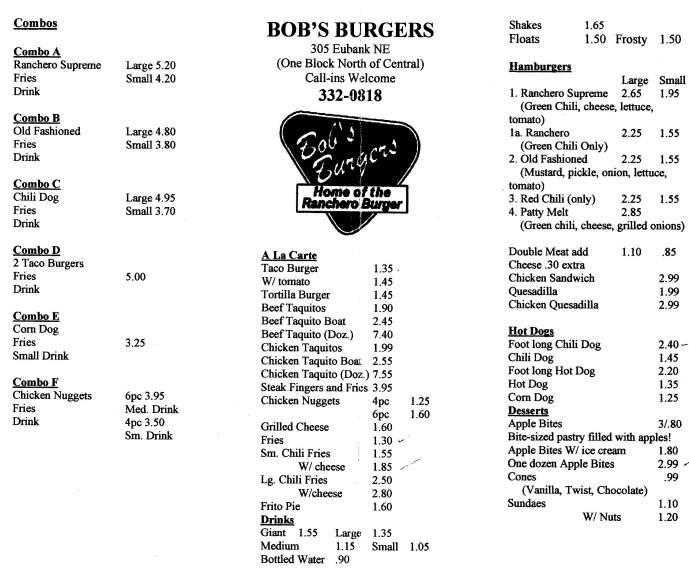 Menu Of Bob S Burgers In Albuquerque Nm 87109