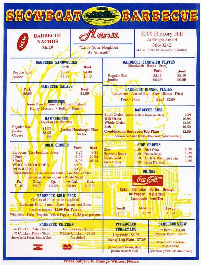 Menu of Showboat Barbecue in Memphis, TN 38118