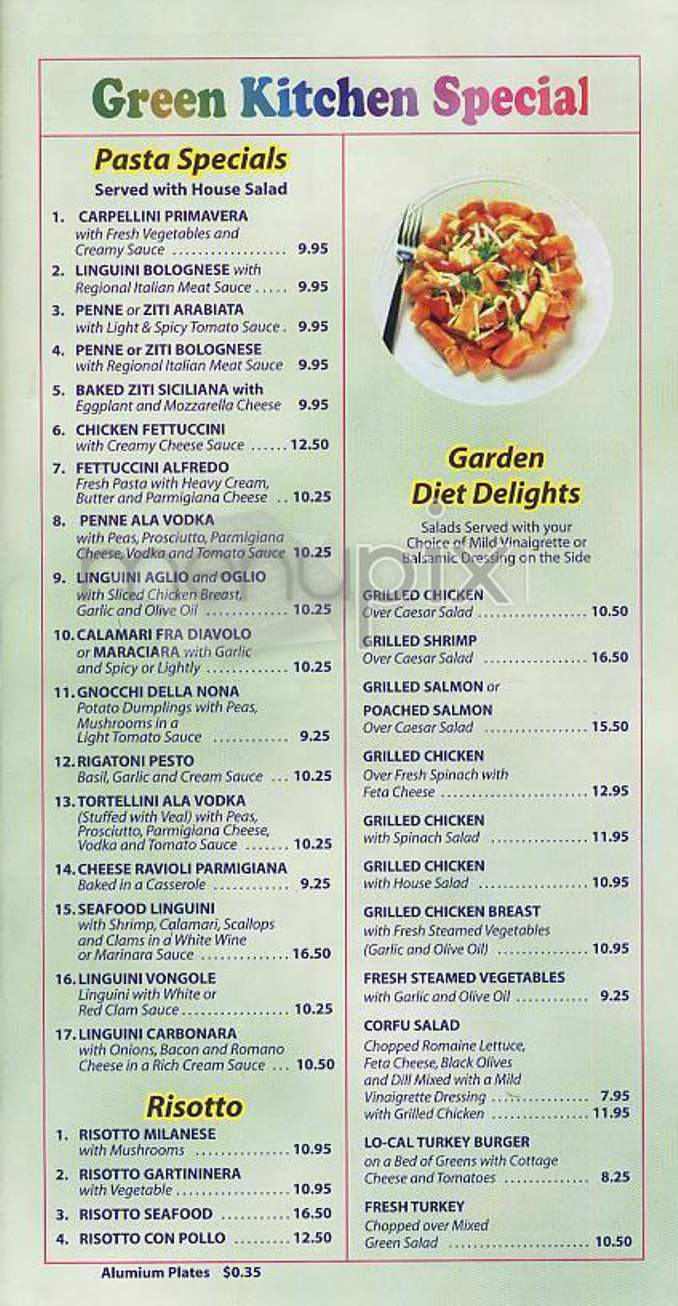Menu Of Green Kitchen In New York Ny 10021