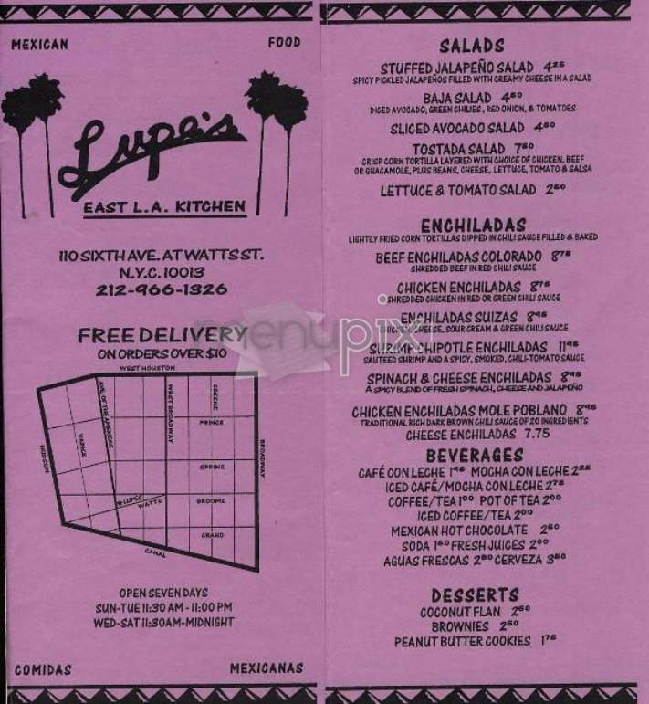 Menu Of Lupe S East L A Kitchen In New York Ny 10013