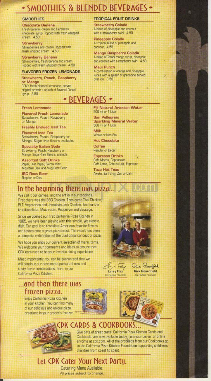 Online Menu Of California Pizza Kitchen San Bernardino Ca