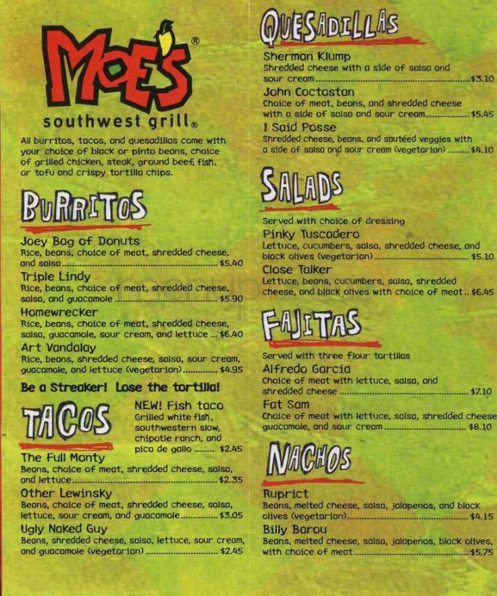Menu Of Moe S Southwest Grill In Hagerstown Md 21742