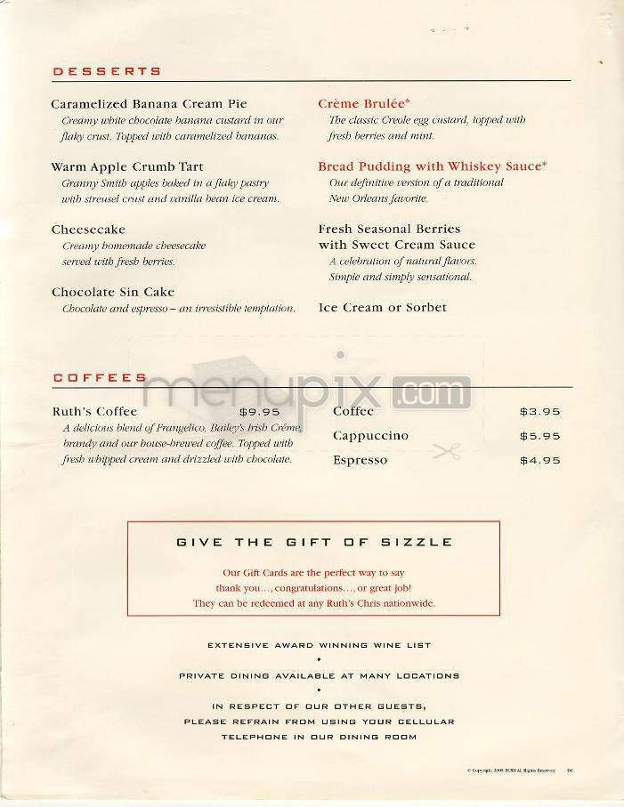 Restaurant menu, map for Ruth's Chris Steak House located in , Parsippany NJ, 1 Hilton Court.