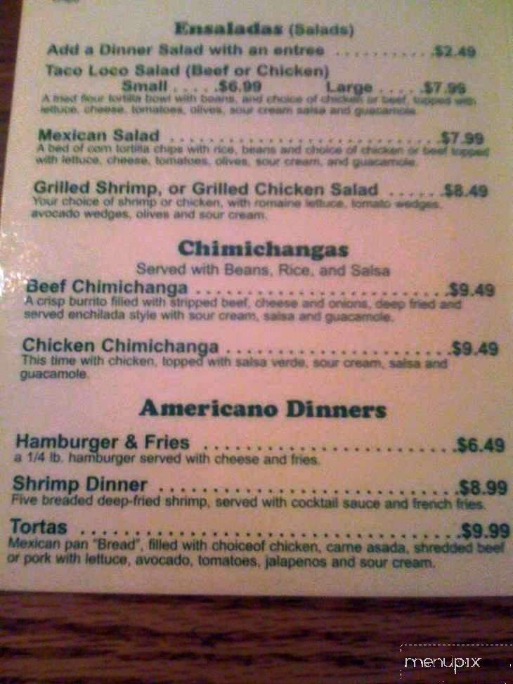 Menu of Pancho & Lefty's in St George, UT 84770
