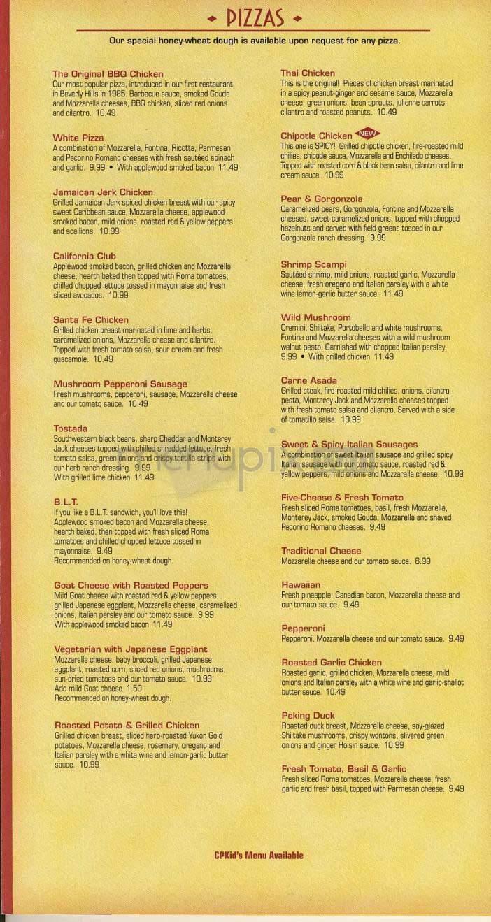 Menu Of California Pizza Kitchen In San Francisco Ca 94102