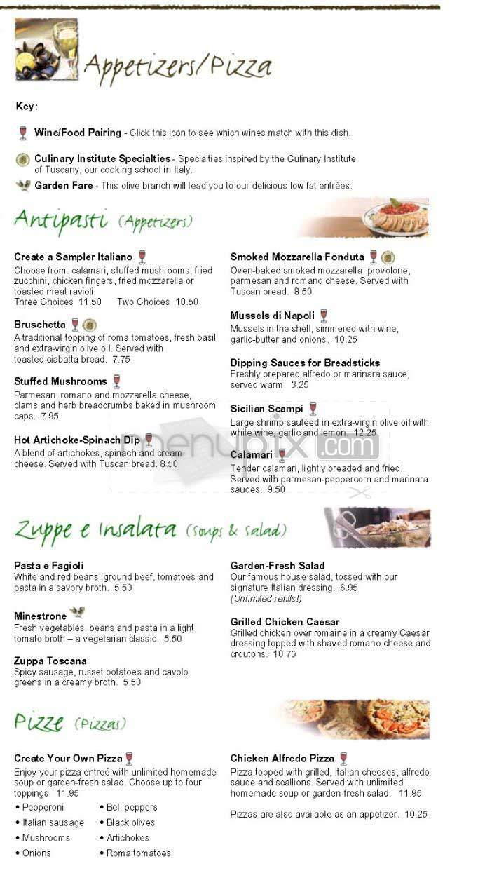 Online Menu Of Olive Garden Italian Restaurant Yuba City Ca